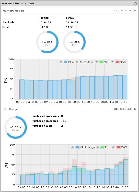 Memory and Processor Usage Statistics